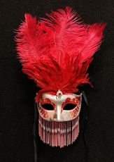 Red Feather Venetian Masquerade Mask With Beads