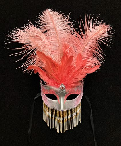 Pink Venetian Masquerade Mask With Beads