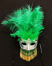 Green Feather Venetian Masquerade Mask With Beads