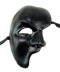 Men's Traditional Venetian Phantom Mask Black