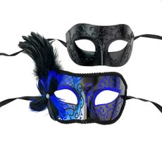 Couples Venetian Masquerade Mask Set  Blue And Black