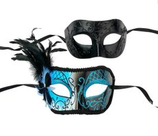 Couples Masquerade Mask Set Aqua And Black