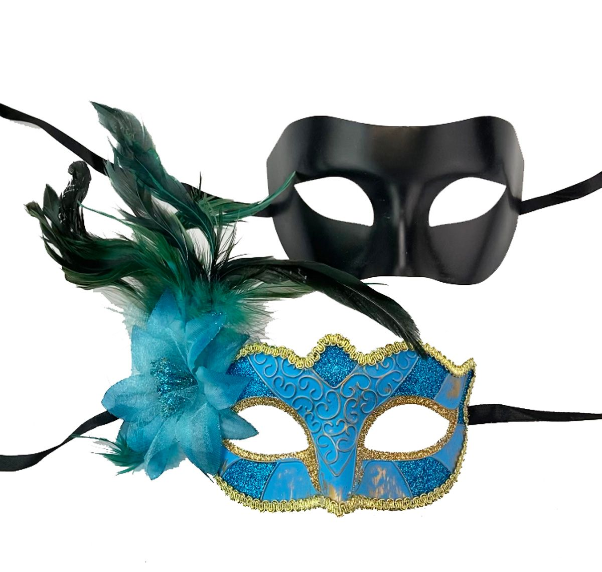Aqua Couples Masquerade Mask Set Of Two