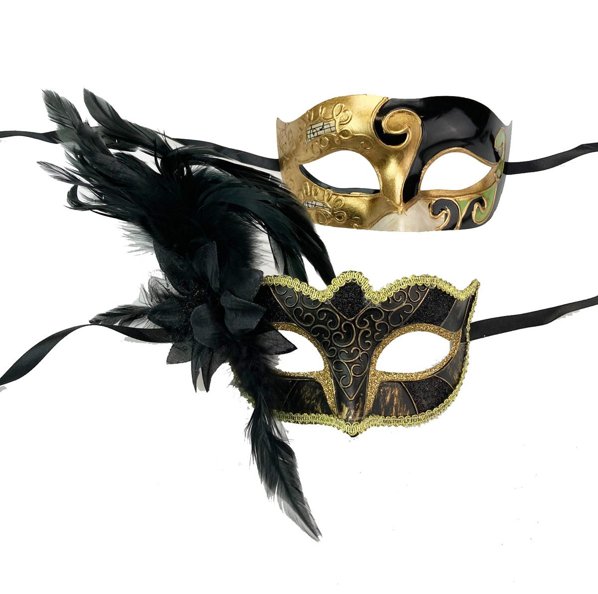 Masquerade Couples Mask Set Of Two Black