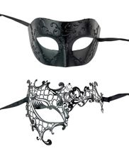 Black Couples Masquerade Eye Mask Set His & Hers Set Couples Prom Party Set