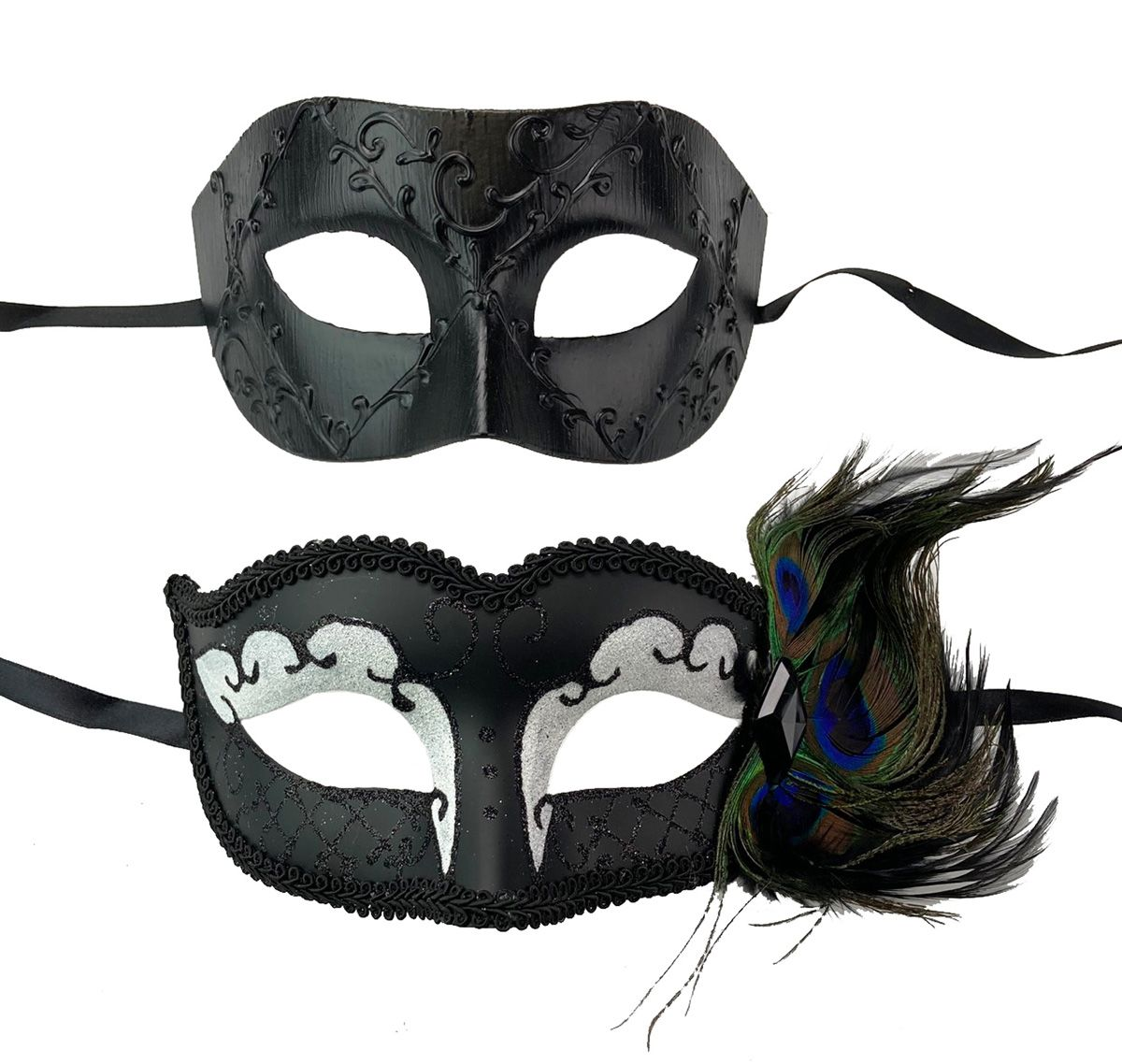 Midnight Masquerade Couples Masks White