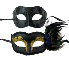 Midnight Masquerade Couples Masks Gold