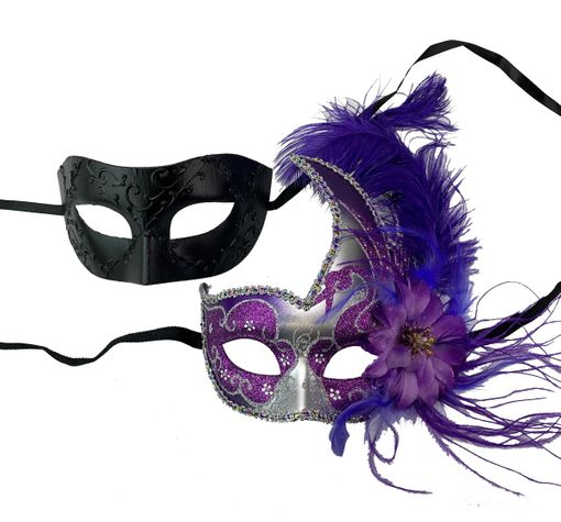 Purple And Black Masquerade Couples Masks His And Hers Masks