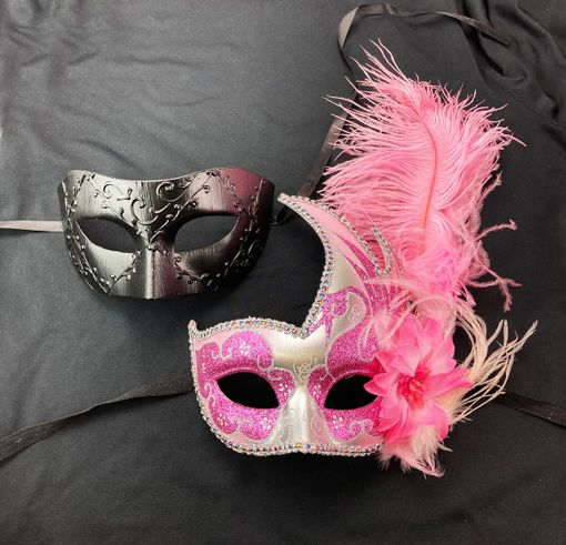 Pink And Black Masquerade Couples Masks His And Hers Masks