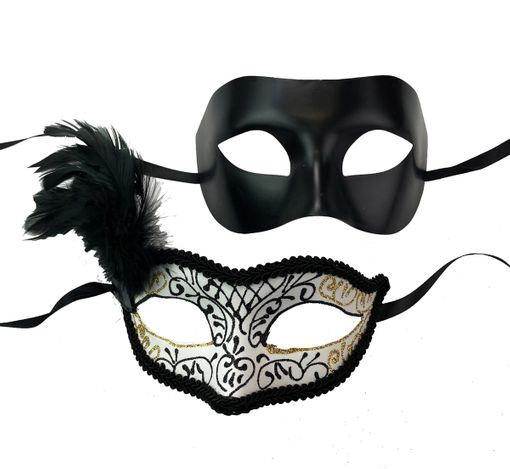 Classic Venetian Masquerade Couples Masks Black And White
