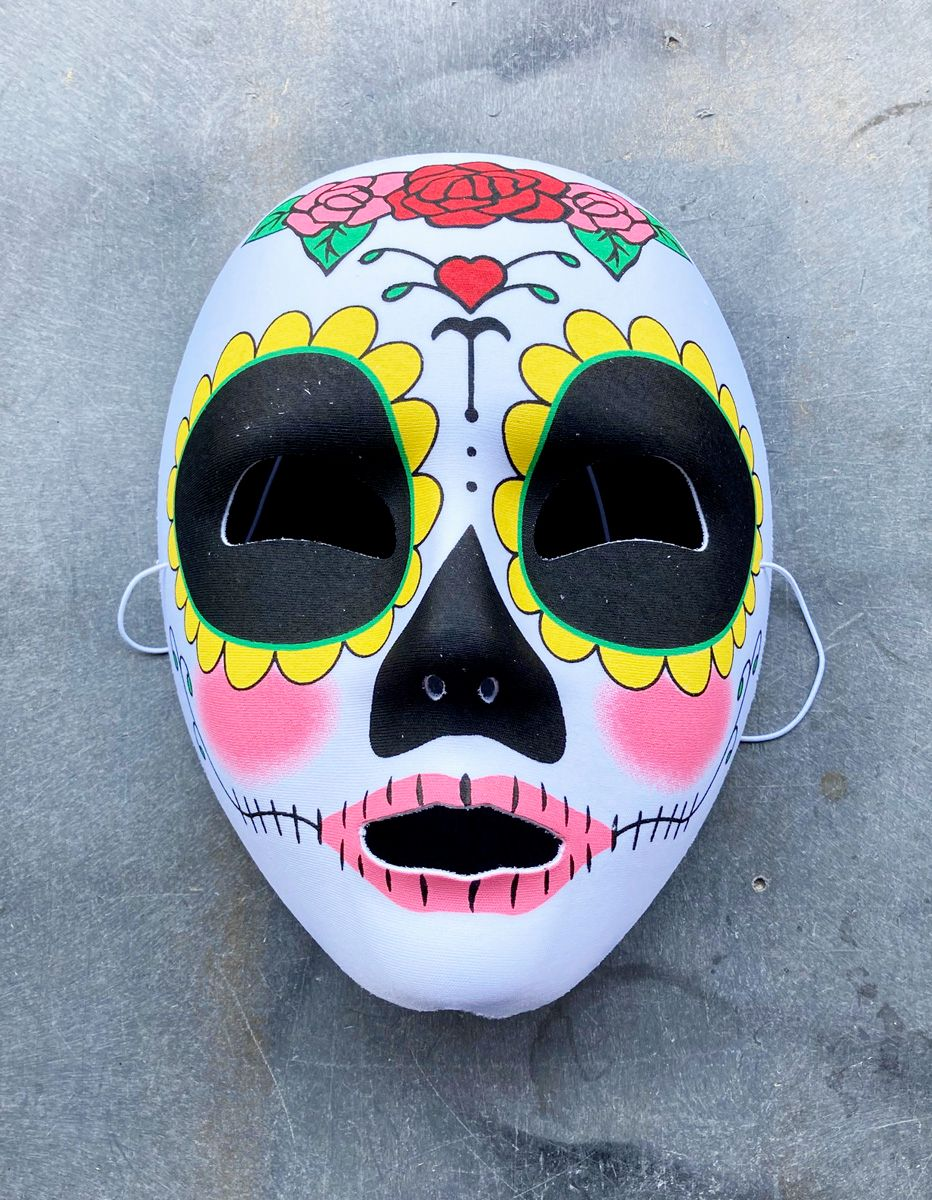 Day Of The Dead Mask With Roses Halloween Costume Mask