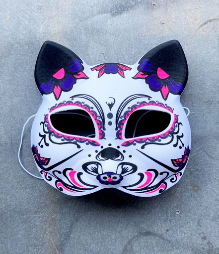Day Of The Dead Cat Mask Halloween Cat Costume Mask