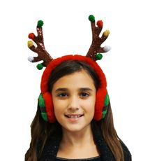 Reindeer Antler Ear Muffs Christmas Headband Ear Muffs Holiday Party Accessory