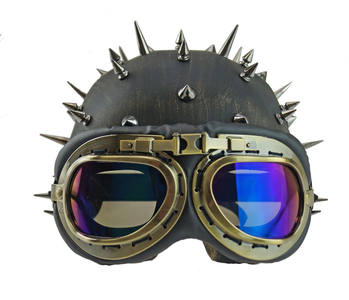 Novelty Motorcycle Cruiser Spike Half Helmet With Vintage Pilot Aviator Goggles