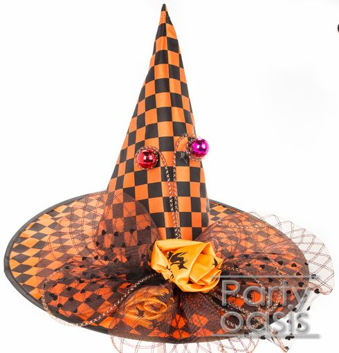 Orange Checkered Witch Hat
