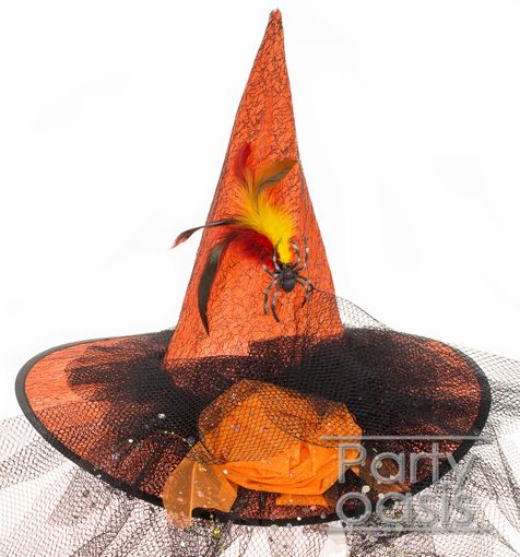 Orange Lace Witch Hat