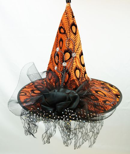 Orange Peacock Witch Hat