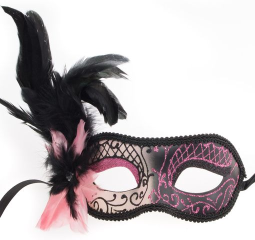 Pairs Feather Masquerade Mask Pink