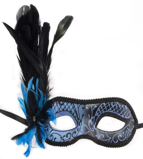 Paris Feather Eye Mask Blue
