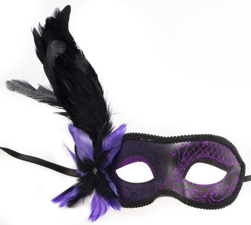 Paris Feathers Masquerade Mask Purple