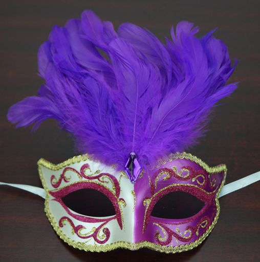 Patalone Feather Masquerade Mask Magenta Gold