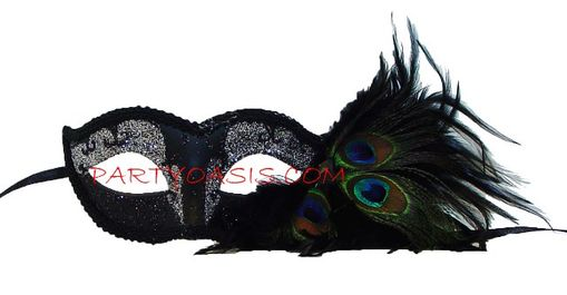 Peacock Feather Silver Masquerade Mask Black/Silver