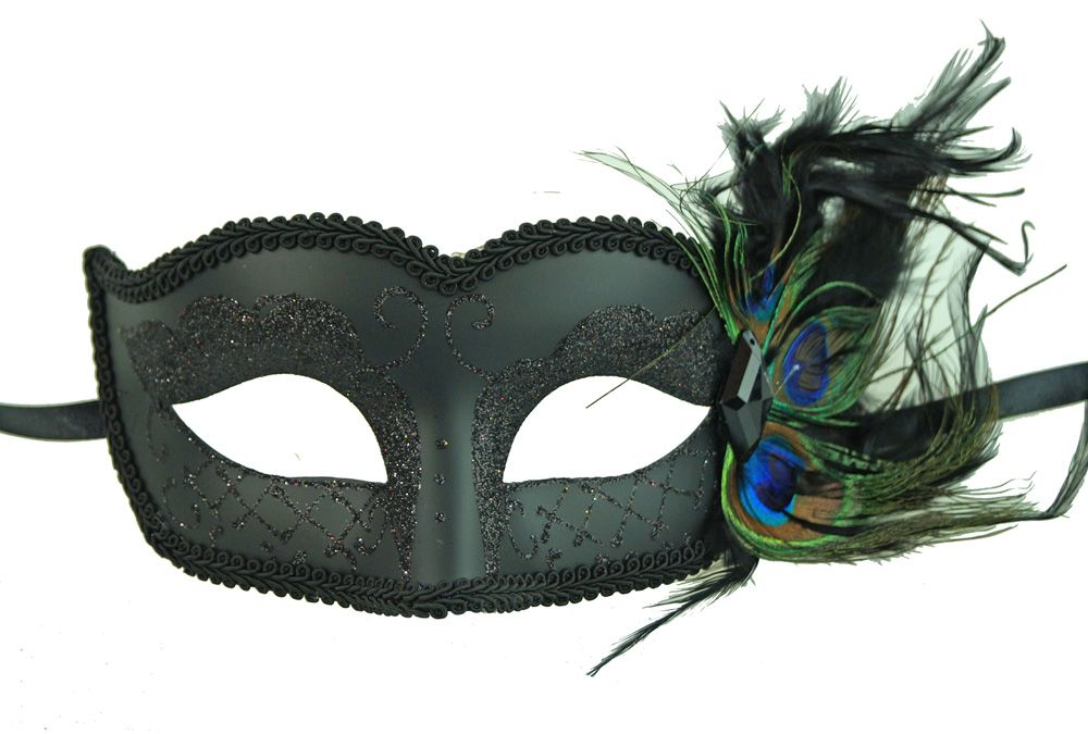Peacock Feather Black Masquerade Mask