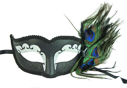 Peacock Feather Masquerade Mask Black and White