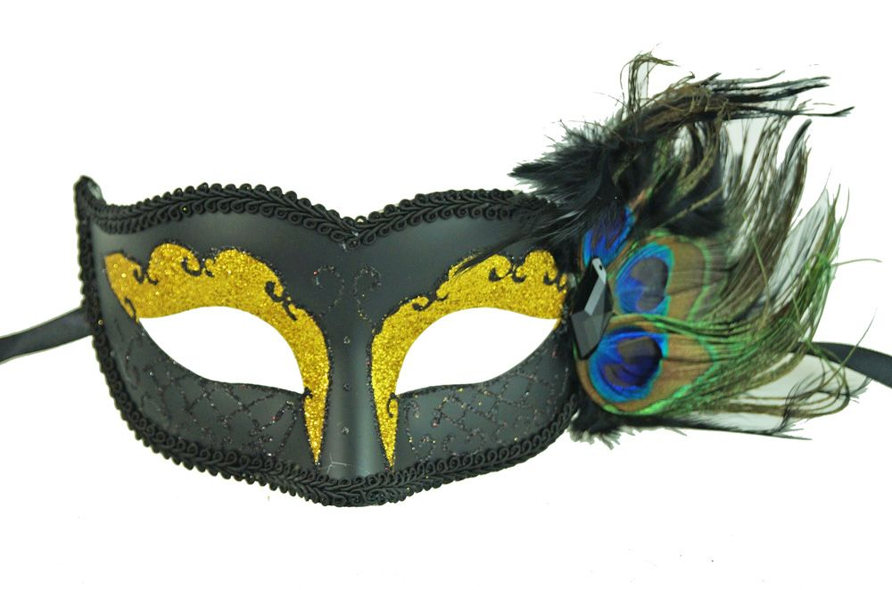Peacock Feather Masquerade Mask Black and Gold