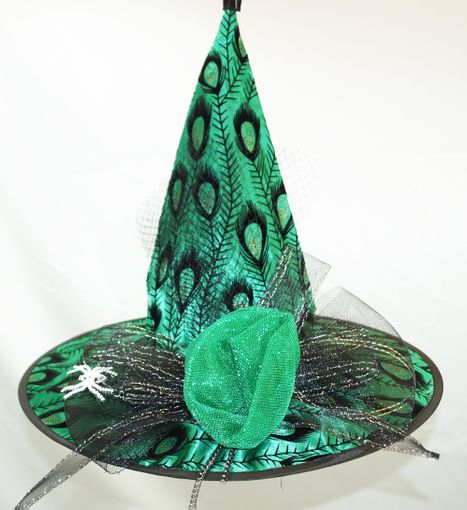 Peacock Feather Witch Hat Green