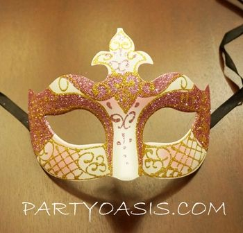 Pink And White Venetian Party Mask Masquerade Ball Mask