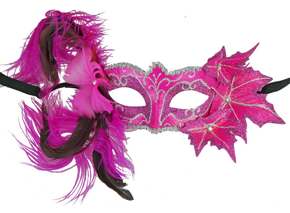 Pink Masquerade Floral Mask With Feathers