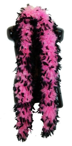Pink with Black Tip Feather Boa