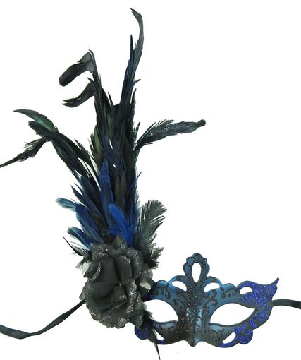 Blue Black Masquerade Mask With Feathers