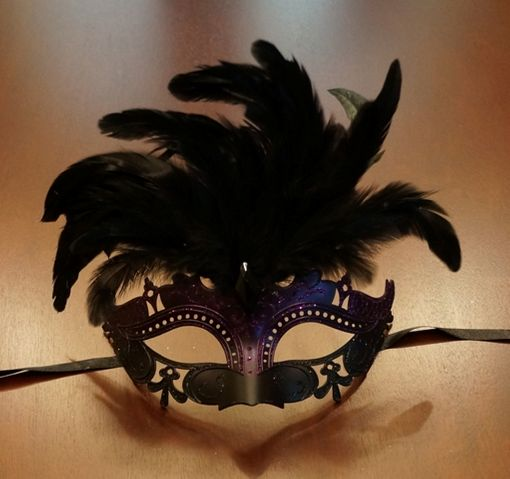Purple & Black Masquerade Mask w/ Feathers