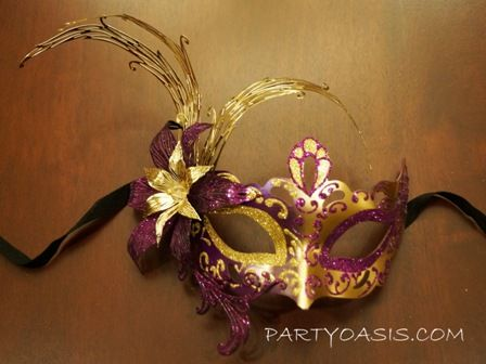 Purple Gold Metal Flower Masquerade Mask