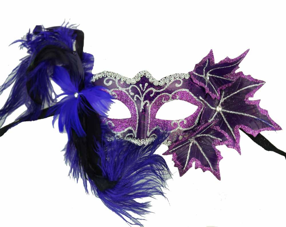 Purple Masquerade Mask With Feathers