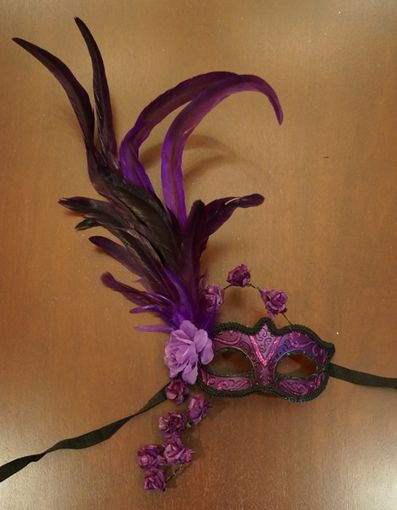 Purple Rose Masquerade Mask With Feathers