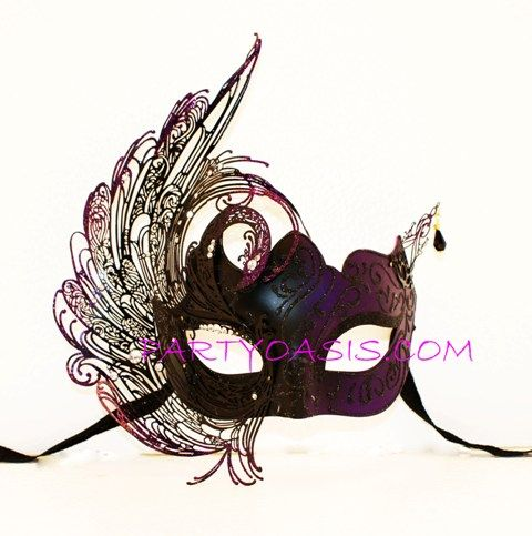 Purple Swan Metal Masquerade Mask