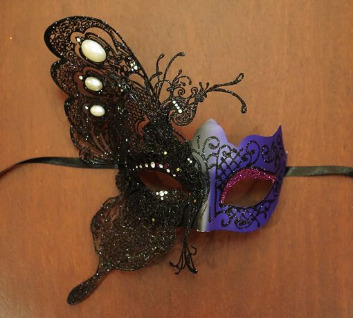 Purple Winged Metal Masquerade Mask