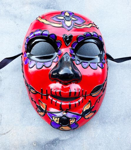 Red Authentic Day Of The Dead Mask Paper Mache Sugar Skull Mask