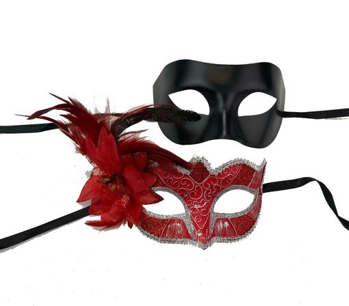 Red Couples Venetian Masquerade Mask Set Of Two