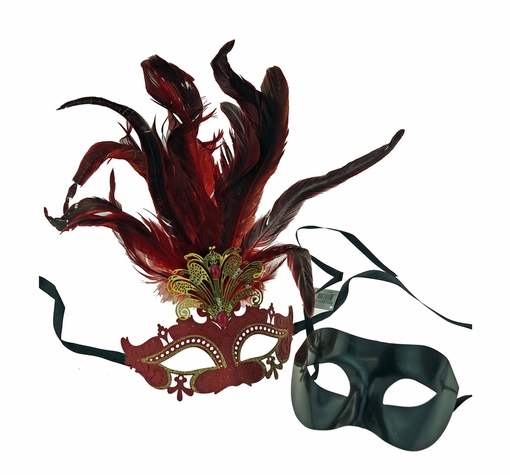 Red and Black Couples Venetian Party Mask