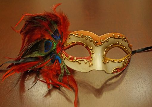 Red Feather Masquerade Mask With Feathers