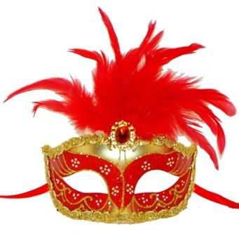 Red Feather Masquerade Eye Mask