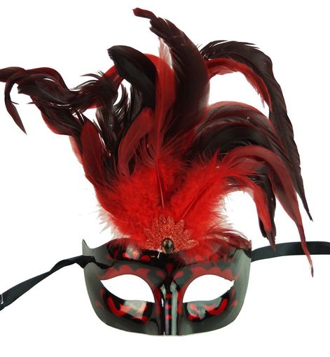 Red Masquerade Feather Mask