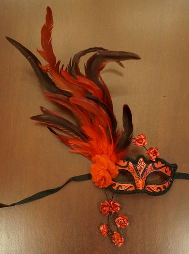 Red Rose Masquerade Mask With Feathers