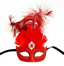 Red Showgirl Masquerade Eye Mask With Feathers