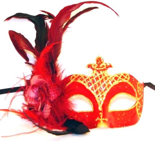 Red Venetian Feather Masquerade Eye Mask