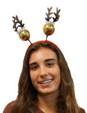 Christmas Gold Reindeer Headband Holiday Festive Headdress